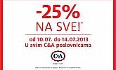 C&A akcija -25% na SVE!
