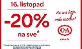 C&A akcija -20% popusta na sve!