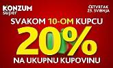 Konzum popust svakom desetom kupcu -20%