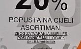 Muller Mall Osijek popust zbog zatvaranja