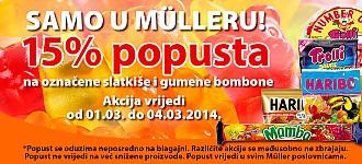 Muller popust 15% slatkiši i gumeni bomboni