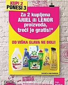 Bipa akcija Lenor Ariel 2+1 gratis