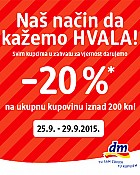 DM vikend akcija -20% do 29.9.