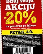 Konzum kupon -20% na proizvod po izboru 4.9.