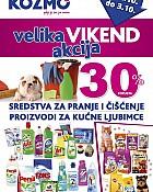 Kozmo vikend akcija -30% sve za čišćenje i kućne ljubimce