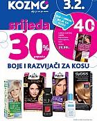 Kozmo srijeda -30% popusta boje za kosu
