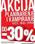 Intersport akcija do -30% popusta planinarenje i kampiranje