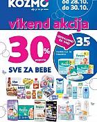 Kozmo vikend akcija -30% popusta sve proizvode za bebe