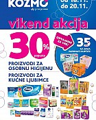 Kozmo vikend akcija -30% proizvodi za osobnu njegu i kućne ljubimce