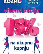 Kozmo vikend akcija -15% na ukupnu kupnju