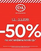 C&A akcija -50% na sniženu kolekciju ožujak 2019