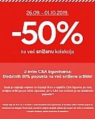 C&A akcija -50% na sniženu kolekciju do 1.10.