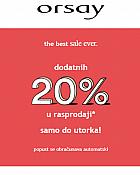 Orsay webshop akcija Dodatnih 20 posto