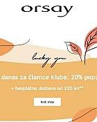 Orsay webshop akcija 20% popusta za članice kluba